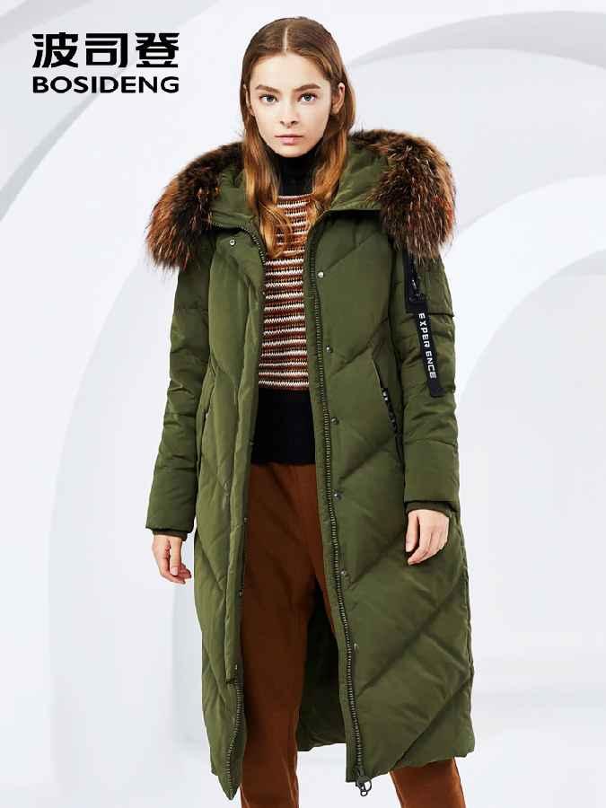Women's Winter Big Real Fur Collar Hooded Ladies Down Jacket