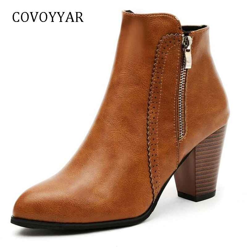 Covoyyar Hot 2019 Retro Women Boots Vintage Block Heel Ankle
