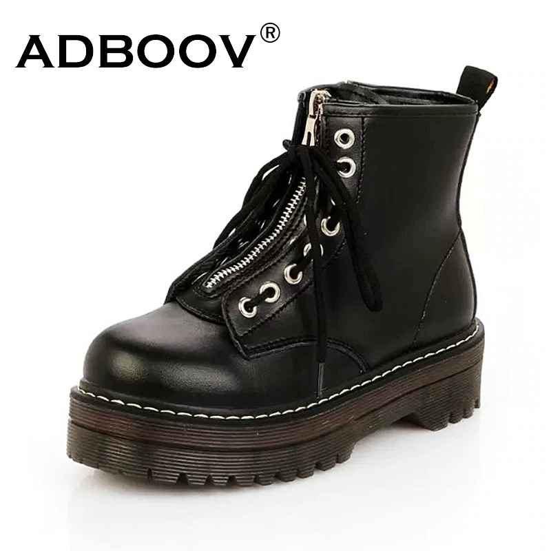 Adboov Quality Pu Leather Platform Ankle Boots Women Zip Flat