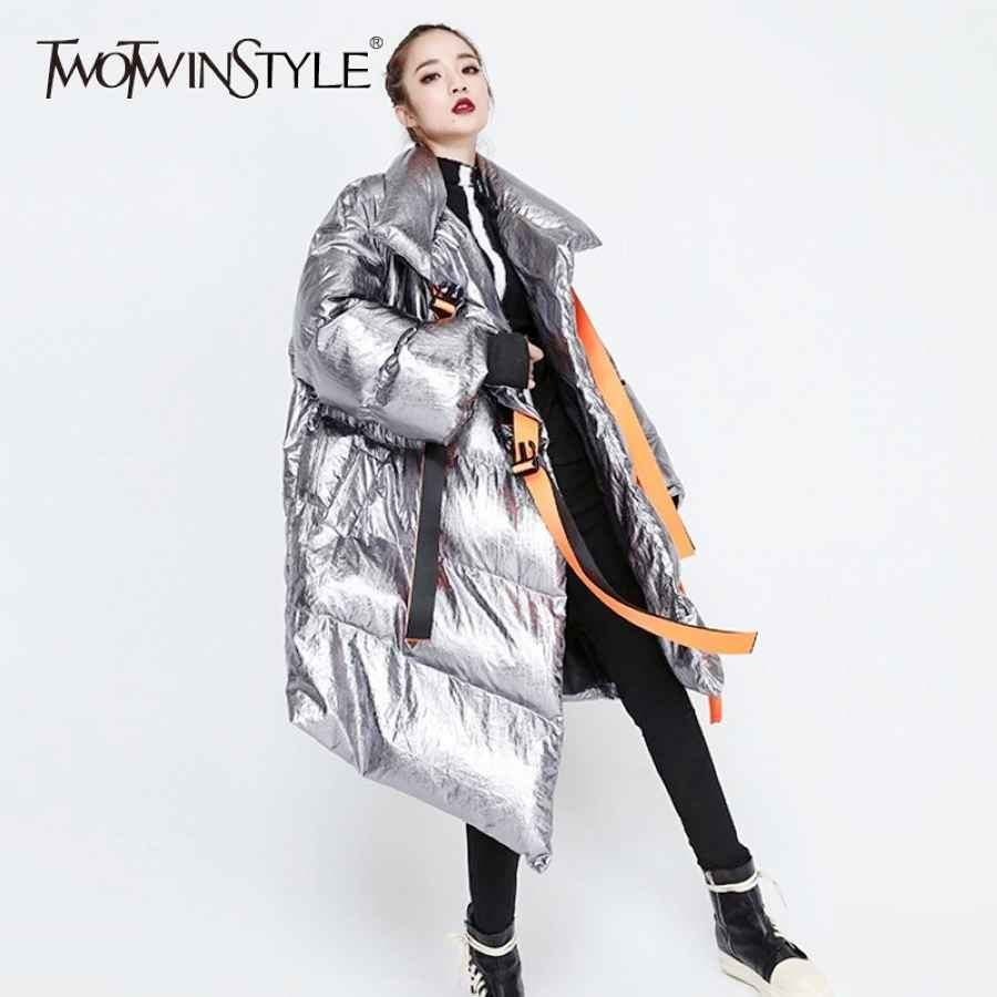 Winter Women's Down Jacket Long Sleeve Patchwork Ribbons Irregular Cotton