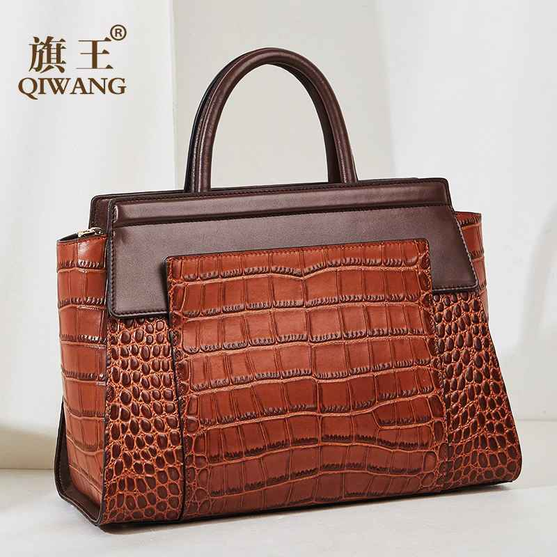 Luxury Brown Cow Leather Hand Bags Women Tote Qiwang Brand