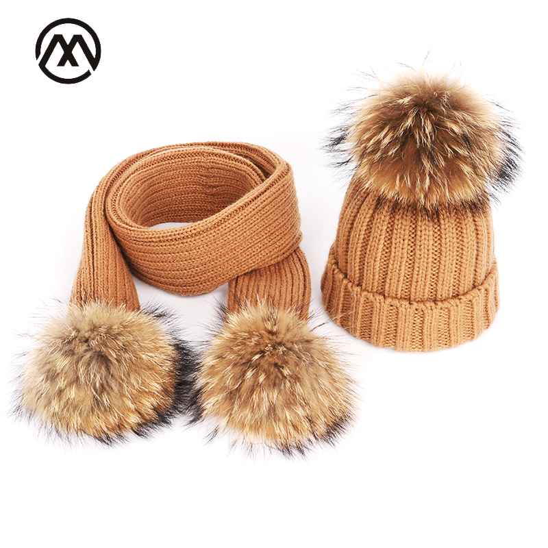 Winter Warm Knitted Cotton Hats Ladies Raccoon Fur Pompom Scarf