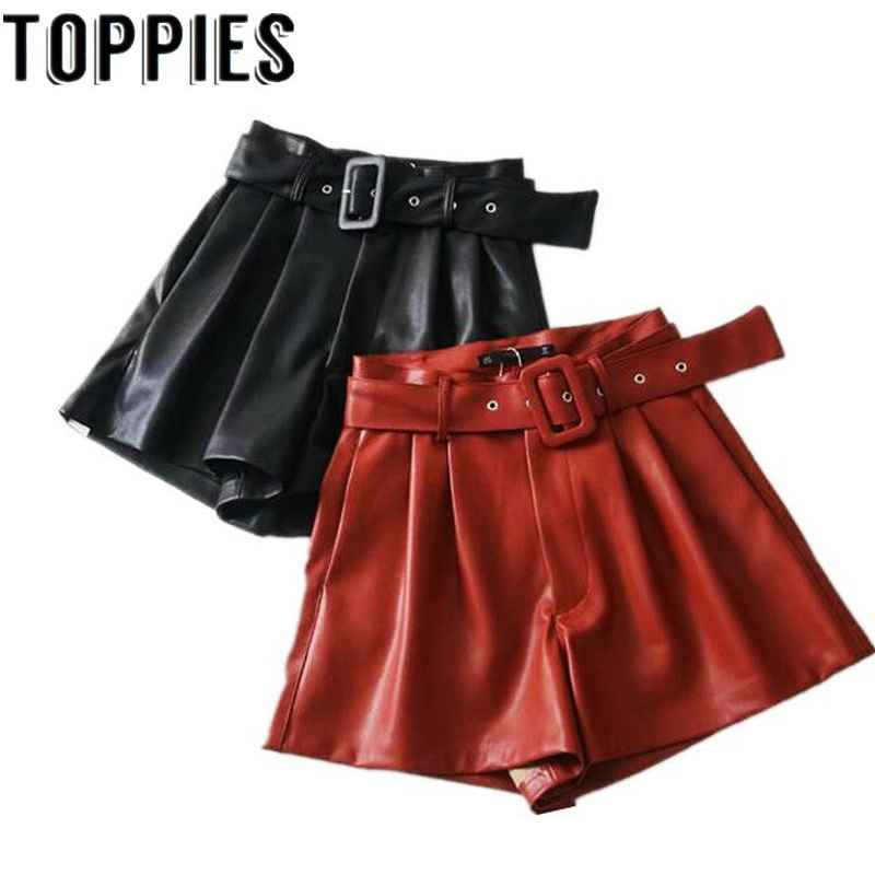 Shorts women black orange color pu leather high waist with