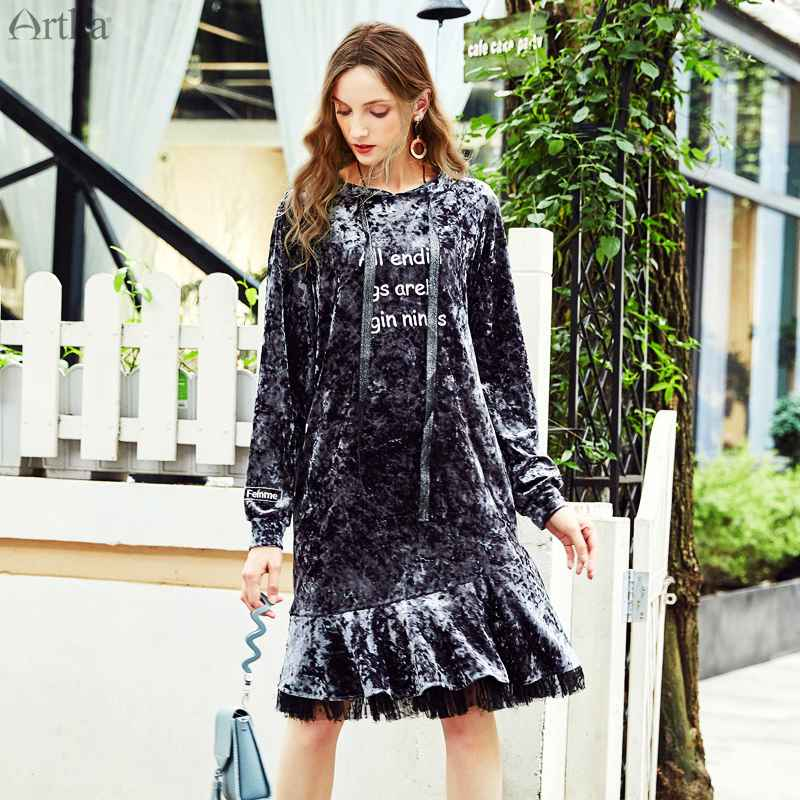 Clearance Artka Autumn Winter Fashion Velvet Stitching Mesh Exquisite Embroidery