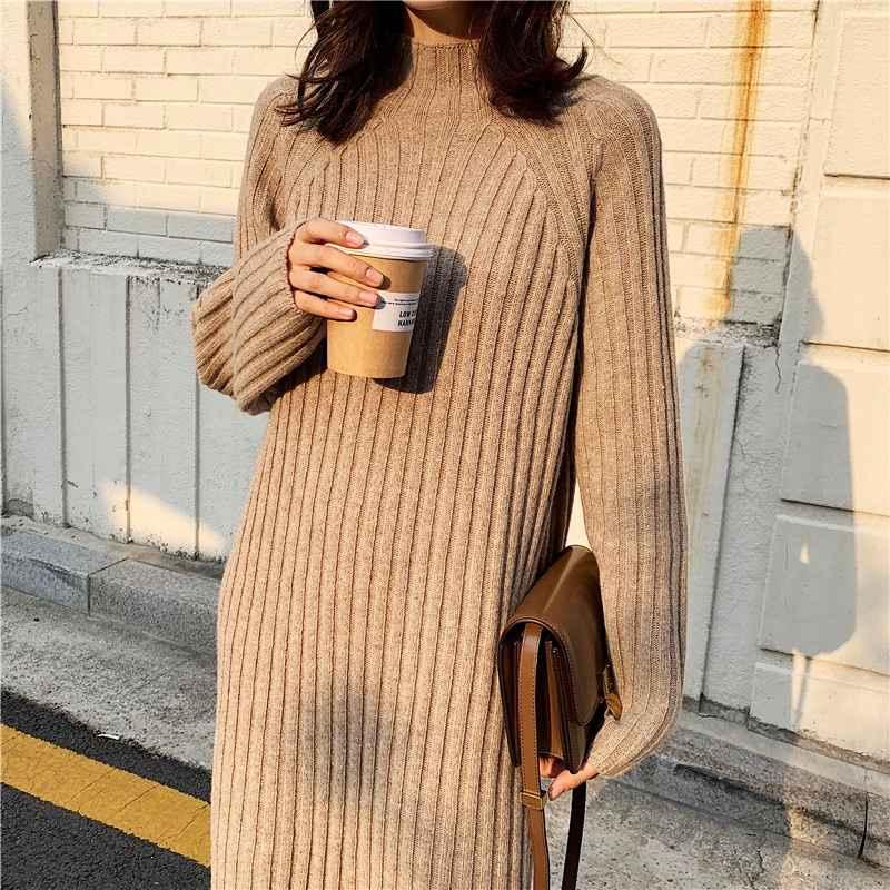 Womens Sets Women Winter Basic Long Sweater Dress Turtleneck Long