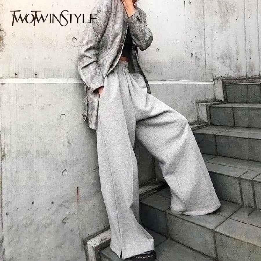 Korean Wide Leg Pants For Women High Waist Elastic Button