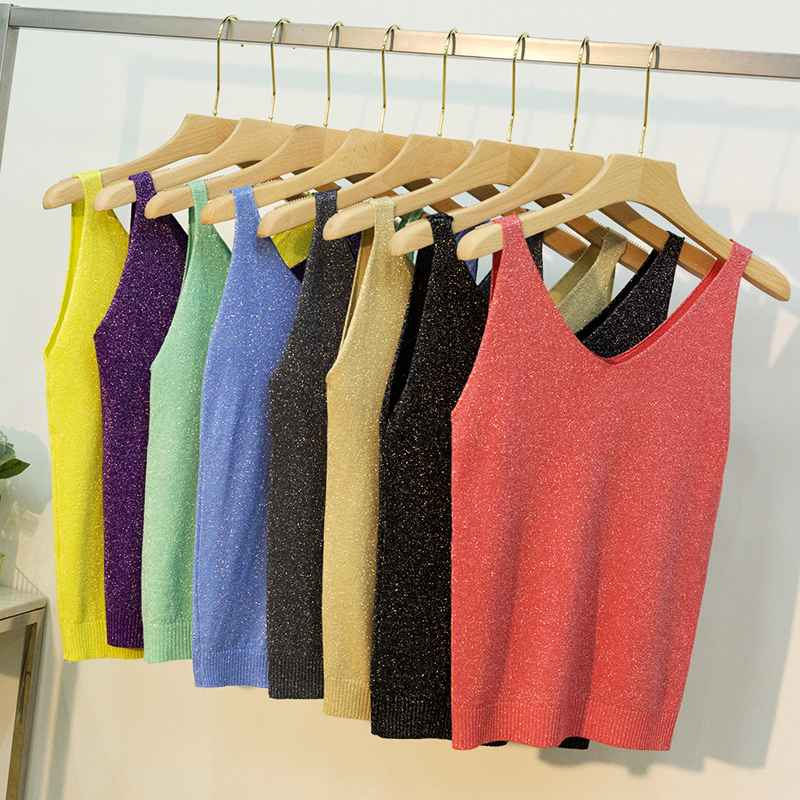 18 Colors Women Sleeveless Tank Tops Sexy Female V-Neck Knitted