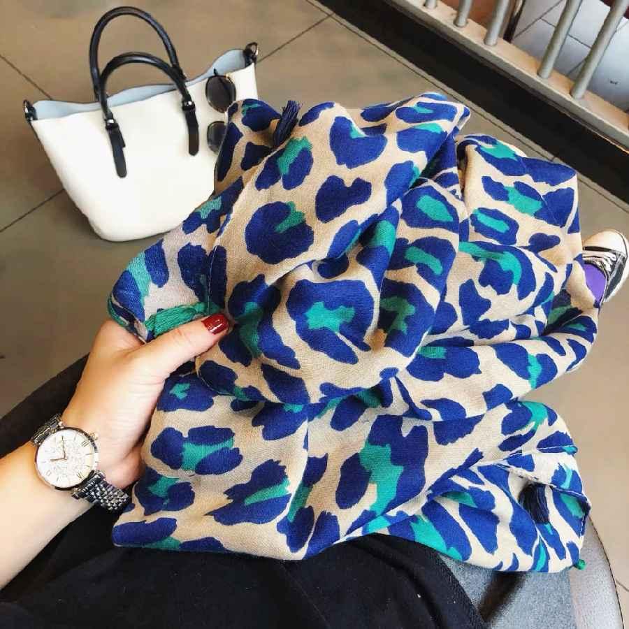 Ladies Fashion Sexy Leopard Dot Tassel Viscose Shawl Scarf Women