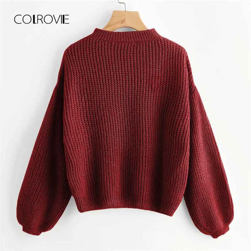 Colrovie Burgundy Solid Drop Shoulder Lantern Sleeve Casual Sweaters 2018