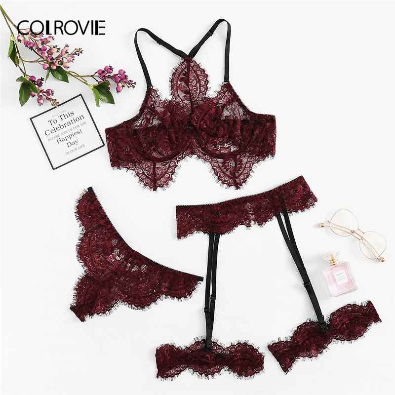 Colrovie Burgundy Eyelash Lace Garter Floral Lace Intimates Sexy Lingerie