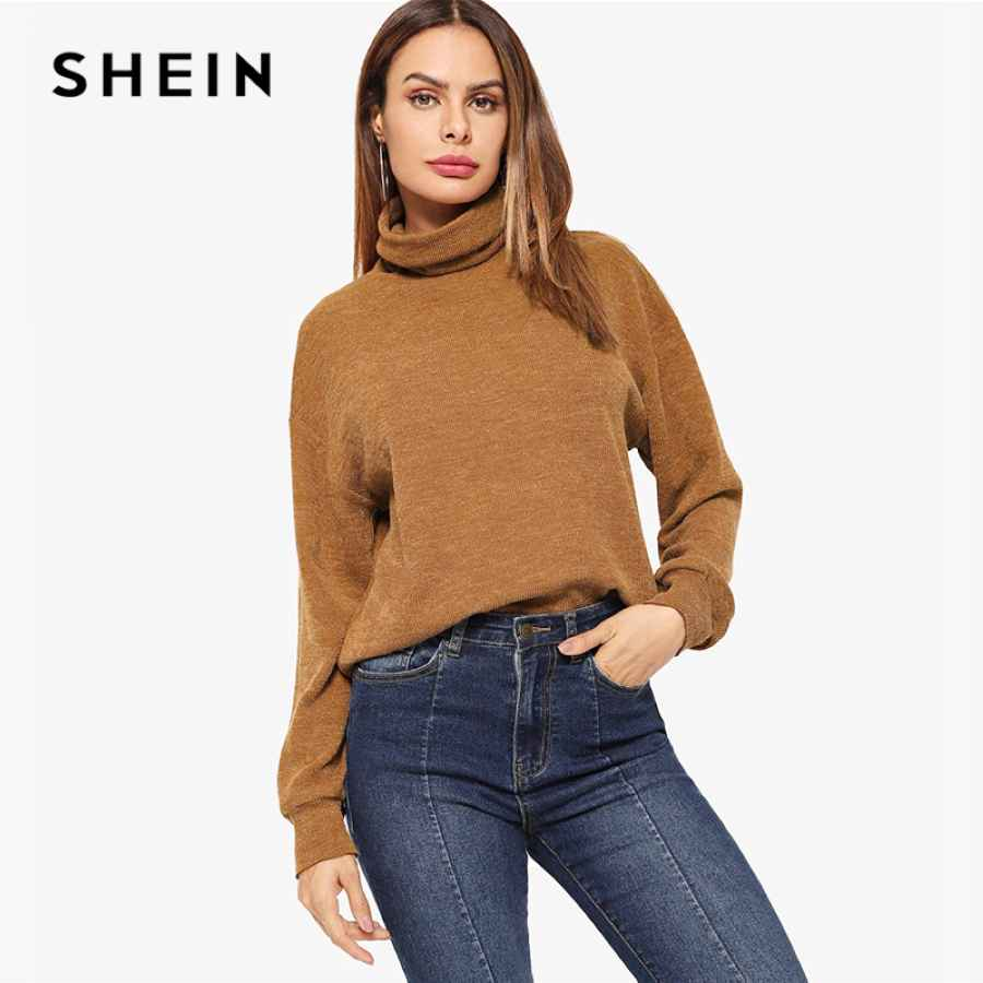 Brown High Neck Solid Pullover Casual Long Sleeve Minimalist Sweatshirts