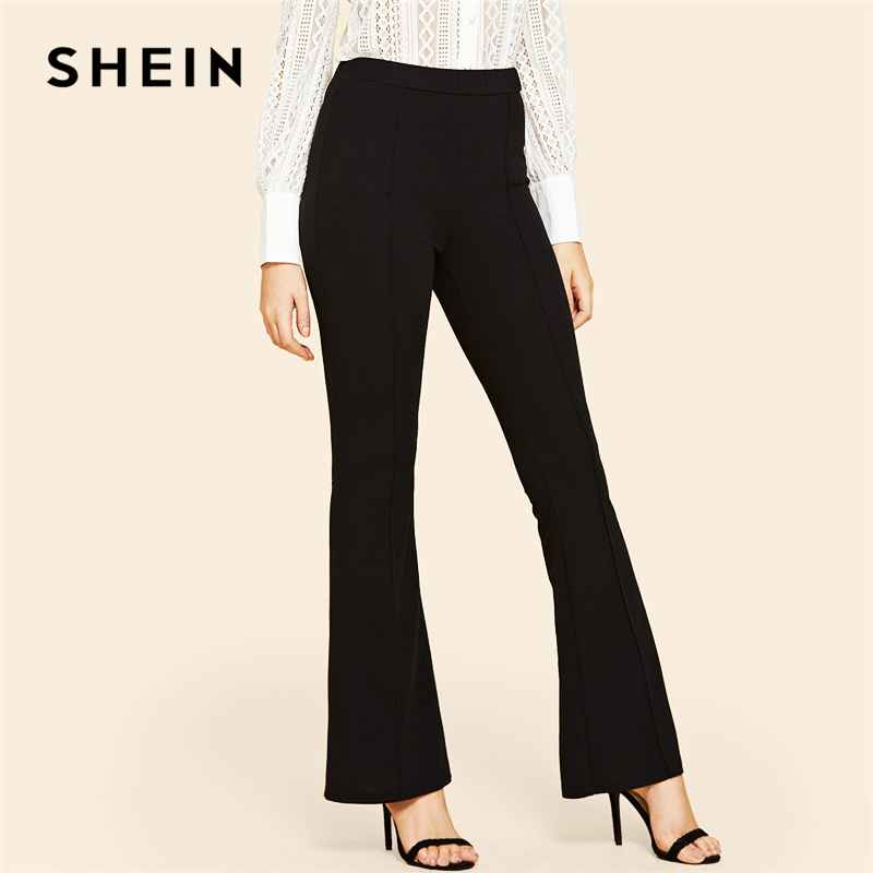 Black Vintage Solid Contrast Binding Flare Leg Elastic Waist Elegant