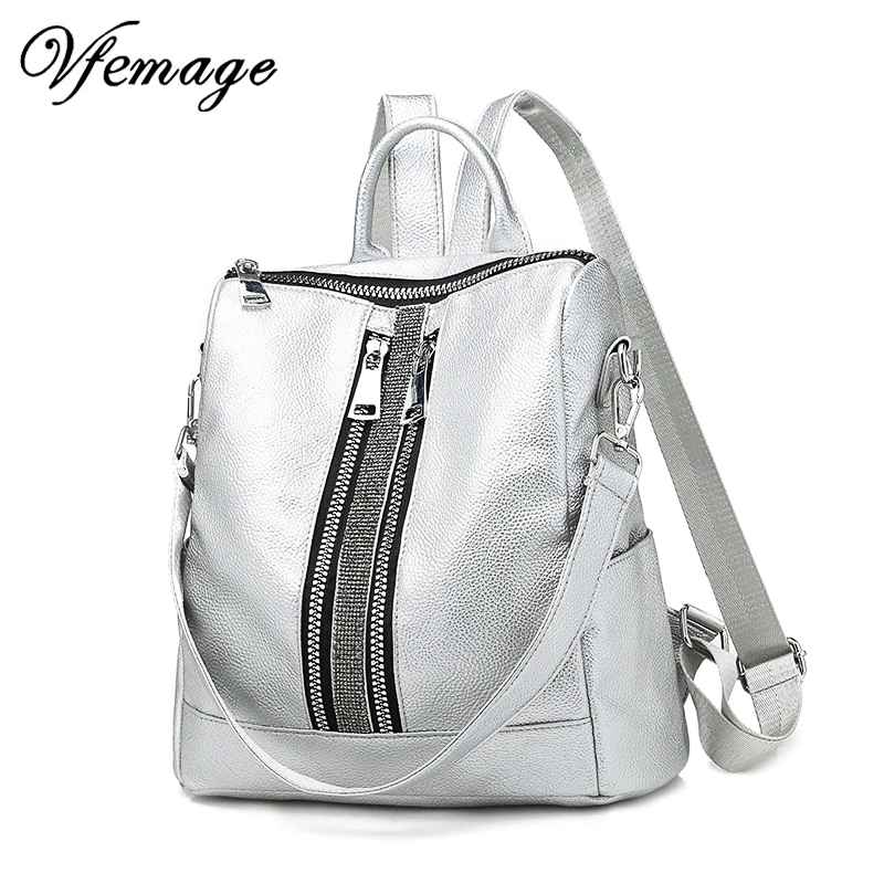 New Multifunction Backpack Women Leather Backpack Large Cool Schoolbags For