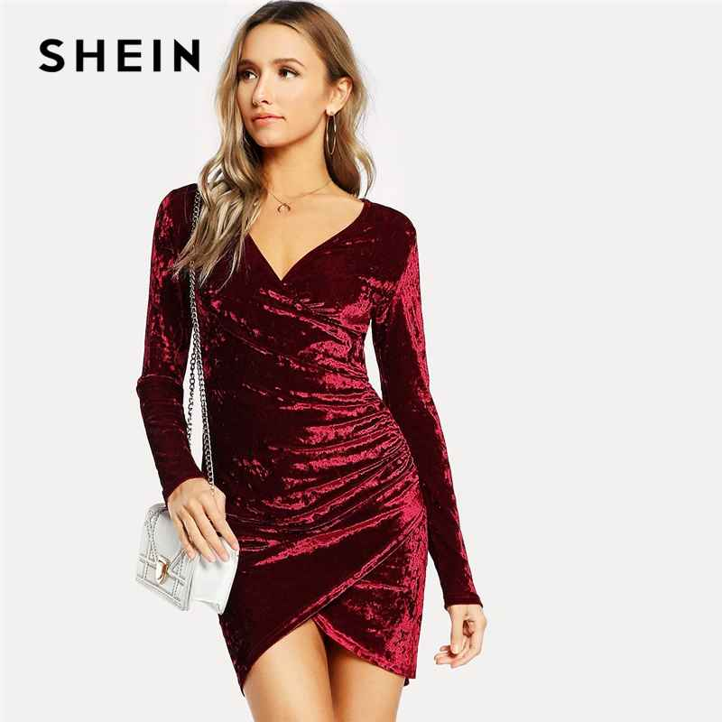 Burgundy Party Solid Ruched Overlap Surplice Crushed Velvet Long Sleeve
