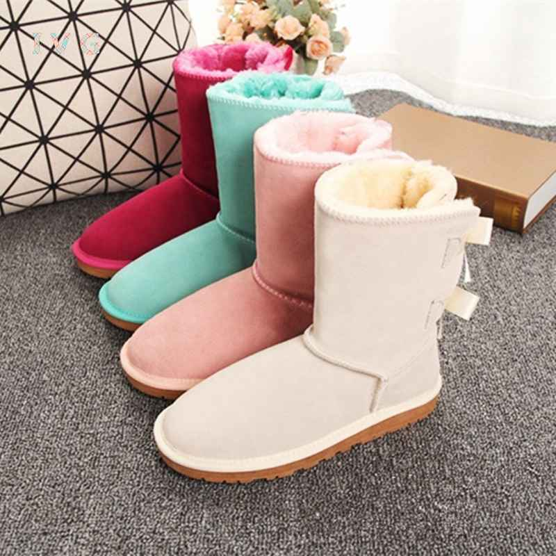 Hot Australian Style Women Snow Boots 2-Bow Back Winter Leather