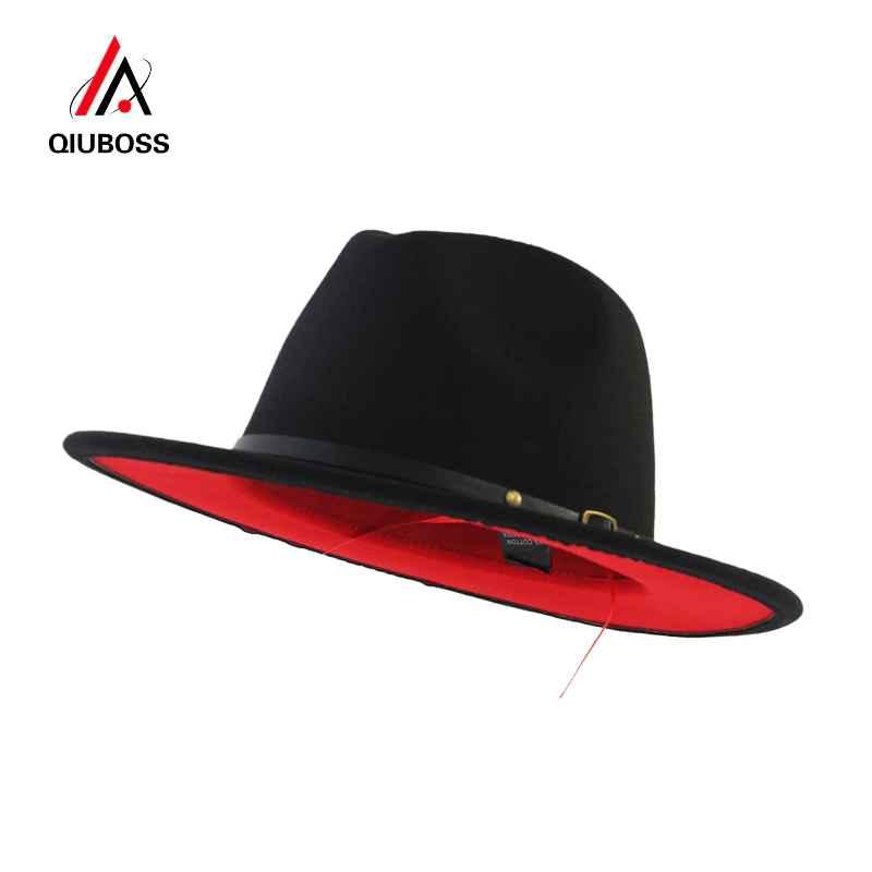 Qiuboss Black Red Patchwork Wool Felt Jazz Fedora Hats Belt