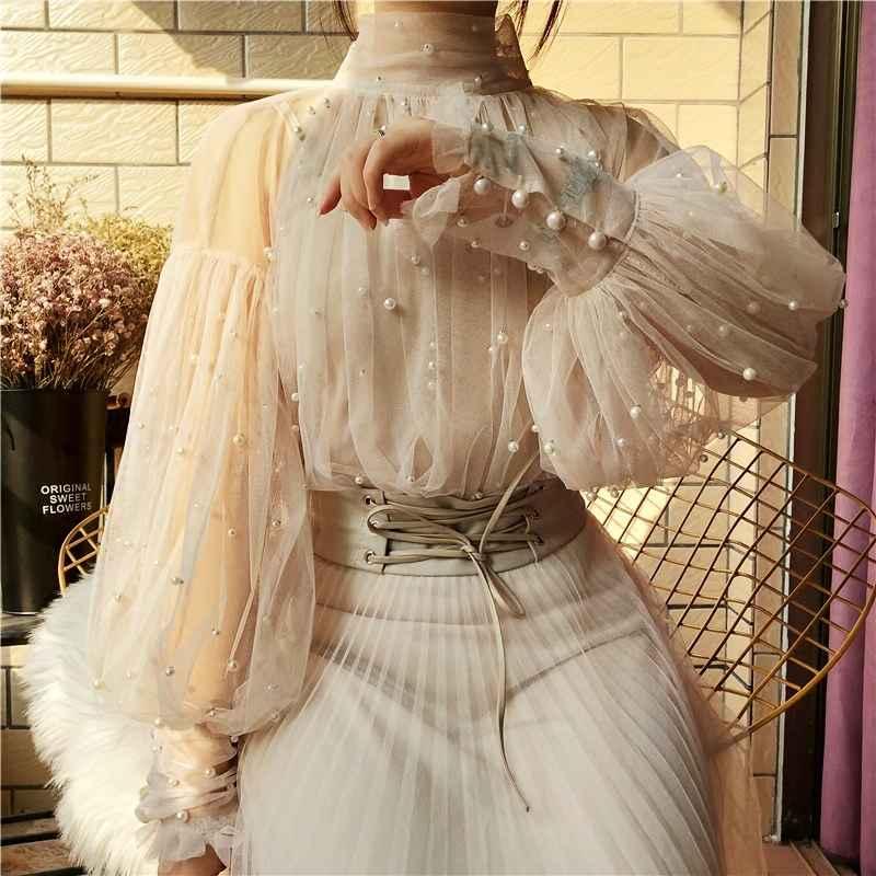 Blouses 2019 new fashion autumn womens sweet beads bubble sleeve