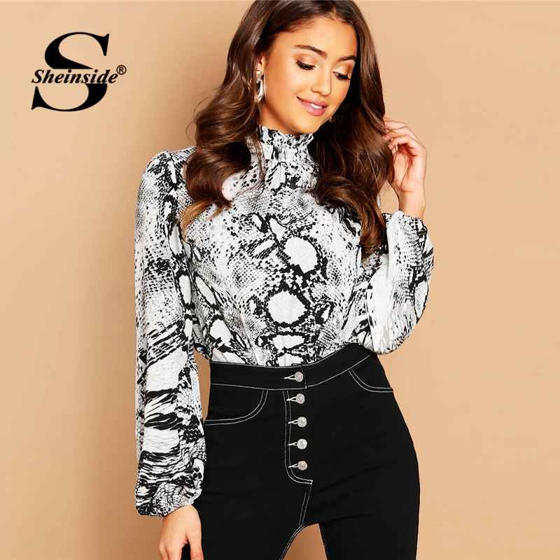 Elegant Blouse Women Long Sleeve Shirts Mock Neck Snake Skin