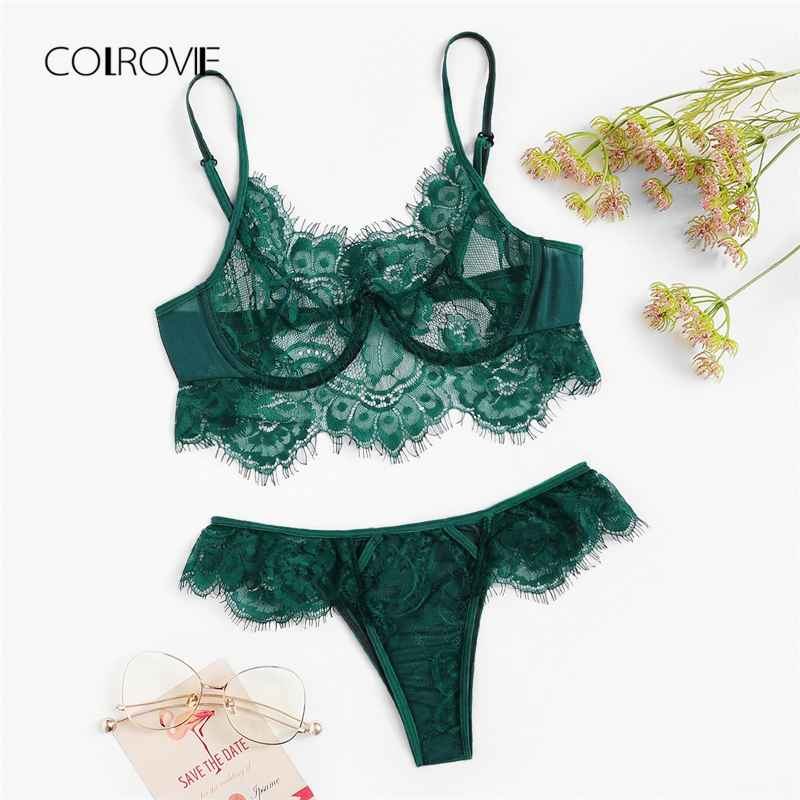 Colrovie Green Sheer Lace Sexy Women Intimates Autumn Wireless Lingerie