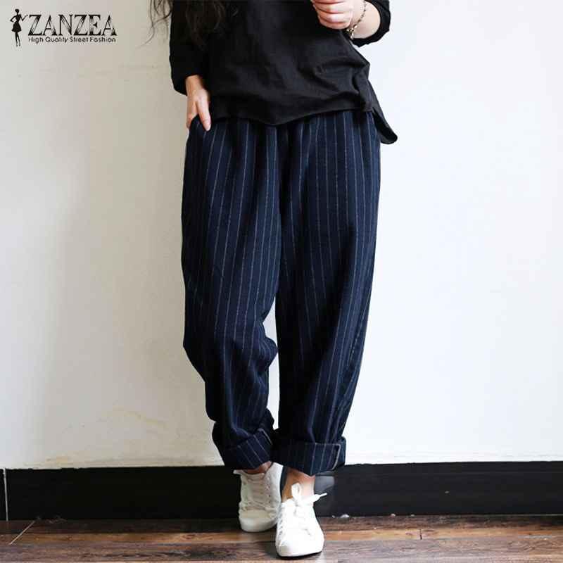 Pants zanzea 5xl autumn striped pants women casual baggy pant