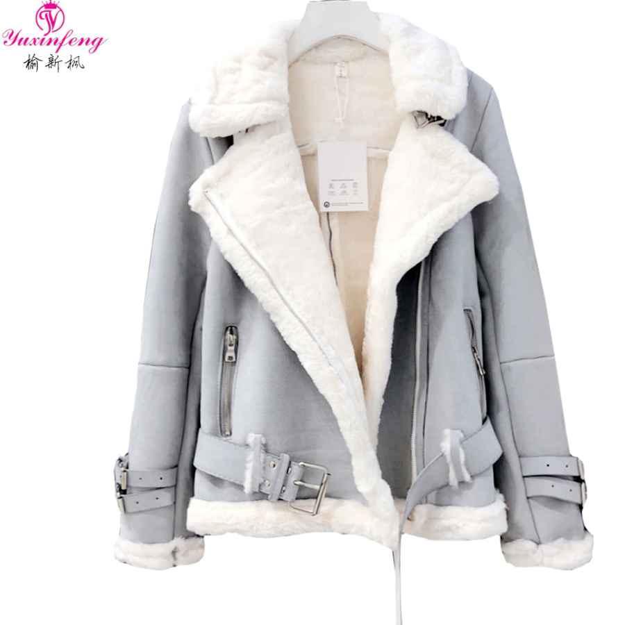 Yuxinfeng Winter Suede Lambs Wool Jacket Female High Streetwear Casual