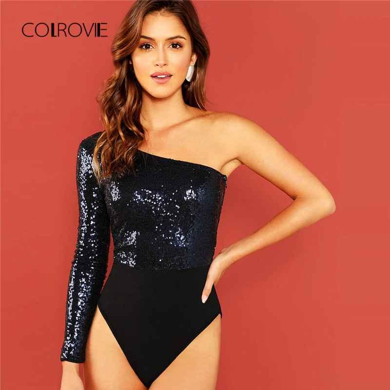 Colrovie Navy Solid One Shoulder Elegant Skinny Sequin Bodysuit Women
