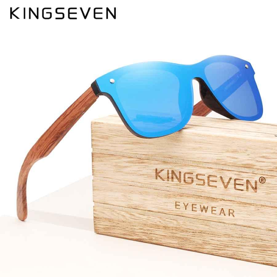 Brand 2019 Wooden Vintage Sunglasses Men Polarized Flat Lens Rimless