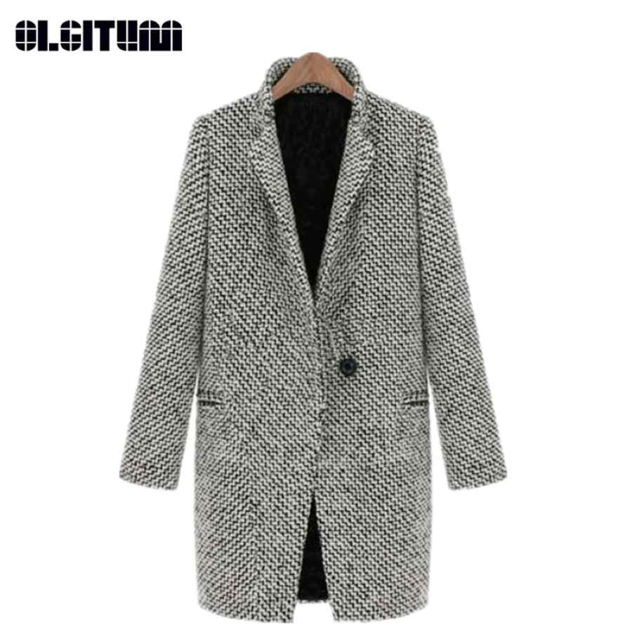 New 2018 Winter And Autumn Large Size Turn-Down Collar Long