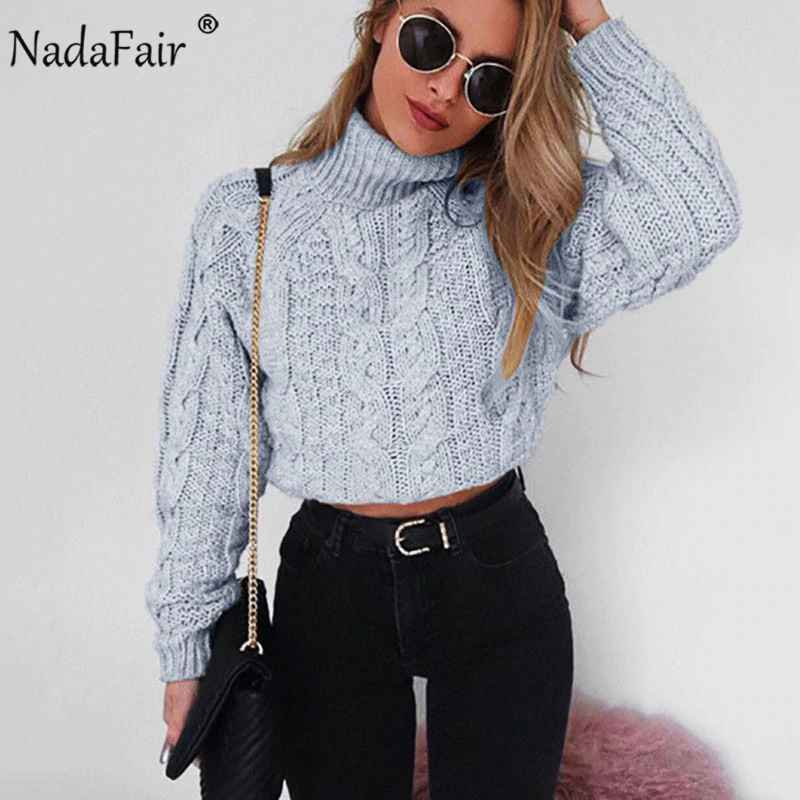 Sweaters nadafair casual turtleneck sweater twist crop knitted oversized sweater