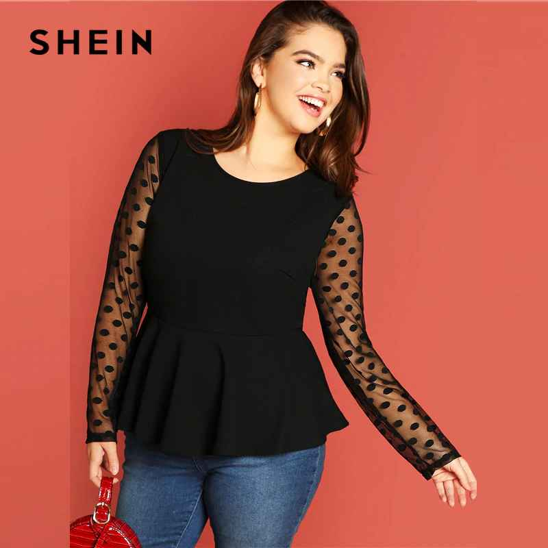 Black Highstreet Elegant Plus Size Dot Contrast Mesh Sleeve Peplum