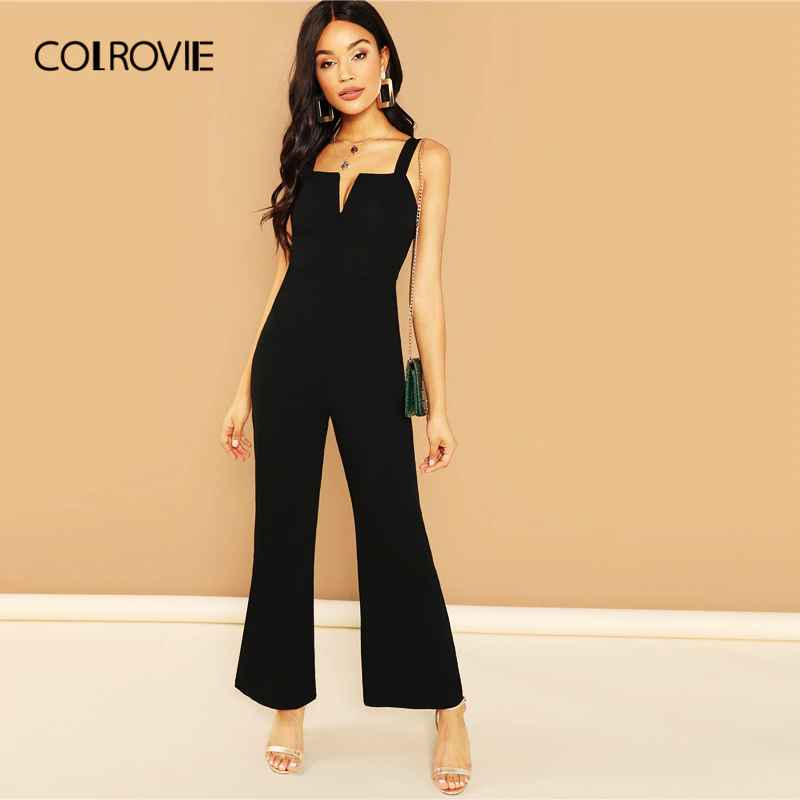 Colrovie Burgundy Solid V Notch Flare Leg Long Party Jumpsuit