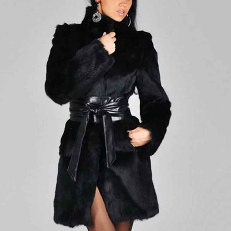 Xikoi New Women Faux Fur Coat Winter Warm Fluffy Jacket