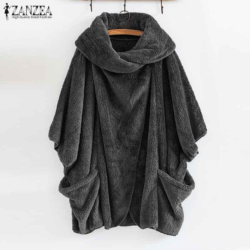 Coats zanzea women fluffy coat oversized long sleeve jackets female