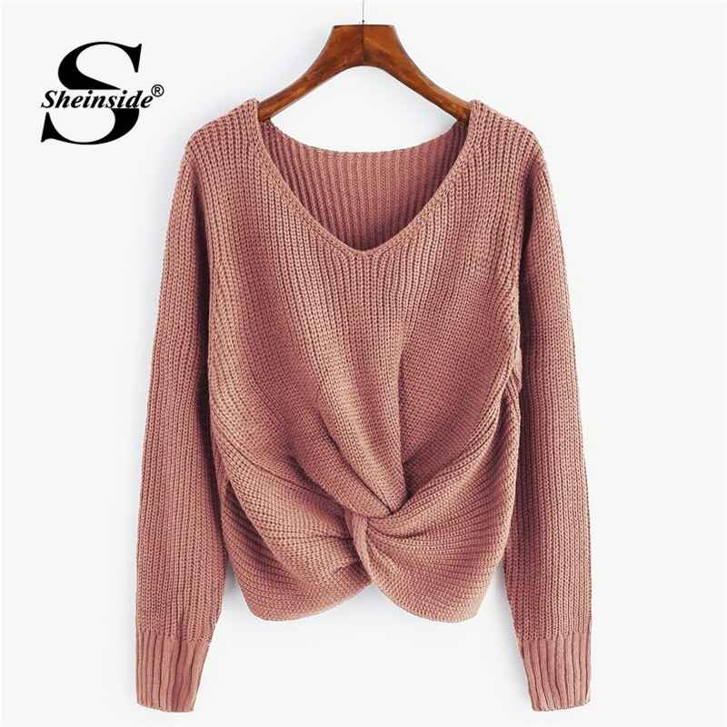 Pink V Neck Twist Front Chunky Sweater Casual Pullover Womens