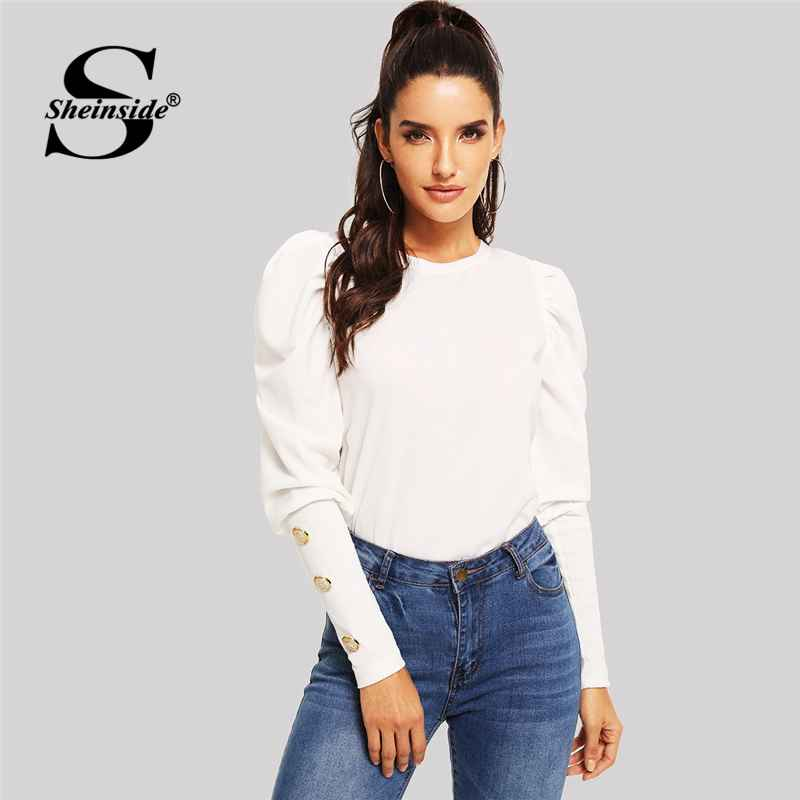 Elegant White T-Shirt Women Long Sleeve Top Puff Sleeve With