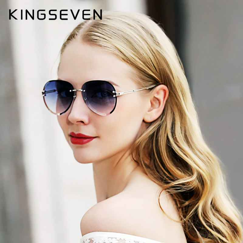 2019 Design Vintage Fashion Sun Glasses Rimless Women Sunglasses Gradient