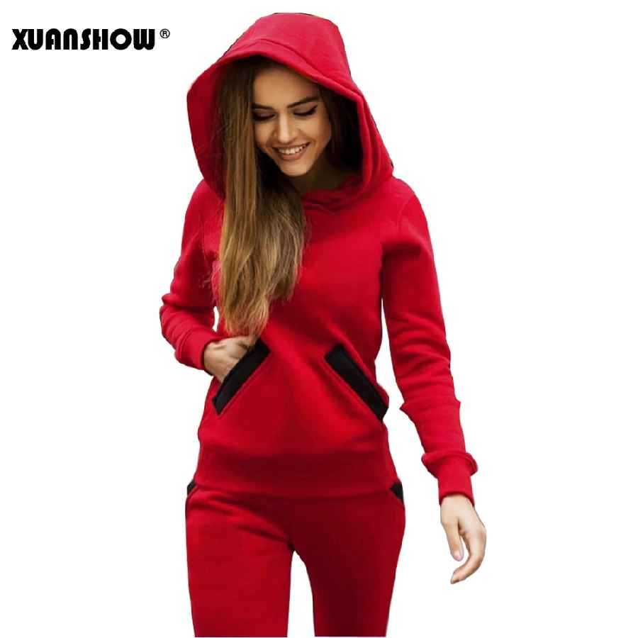 Xuanshow 2019 Fashion Autumn Winter Women Tracksuits Outfits Big Hat