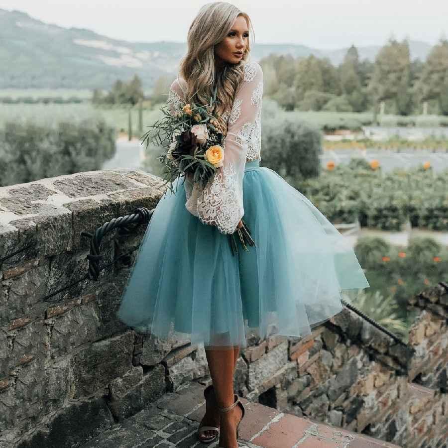 Skirts custom fashion blue tulle skirt vintage midi white pleated