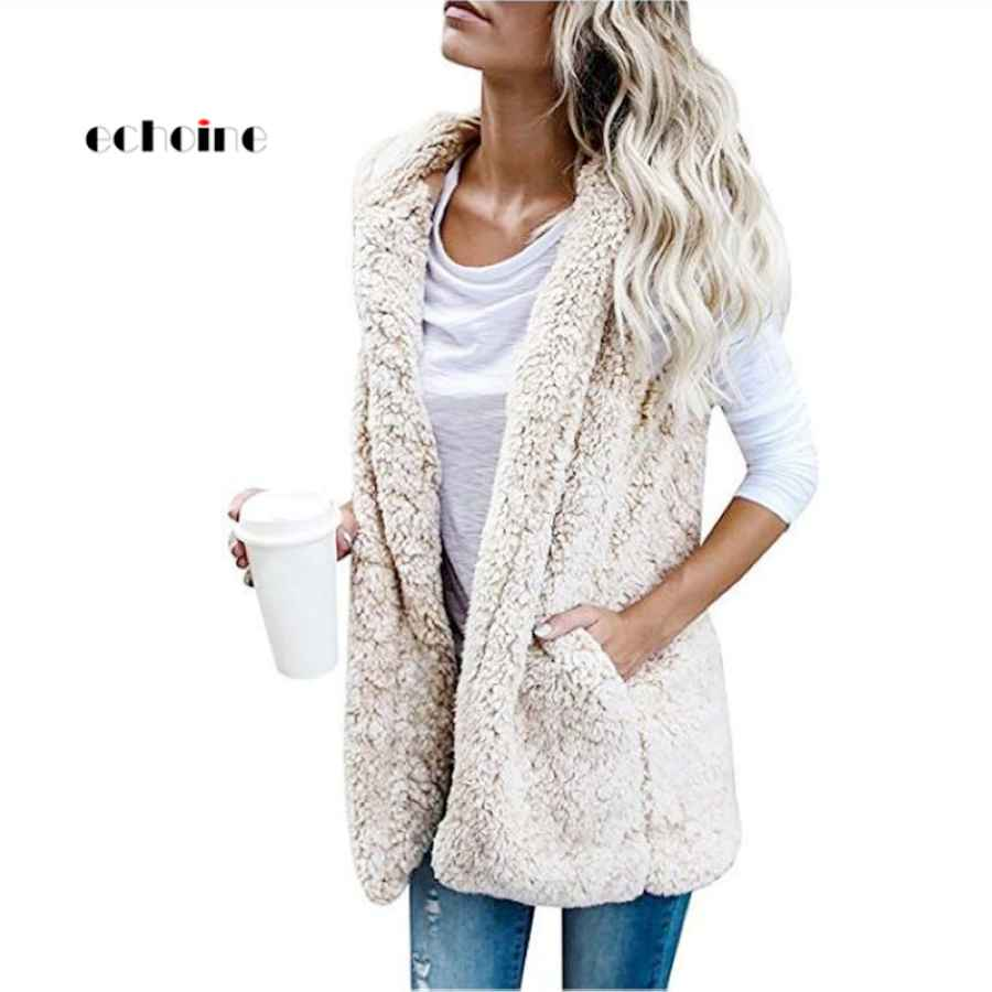 Echoine Women Coat Cashmere Vest Sleeveless Pocket Hooded Neck Plus