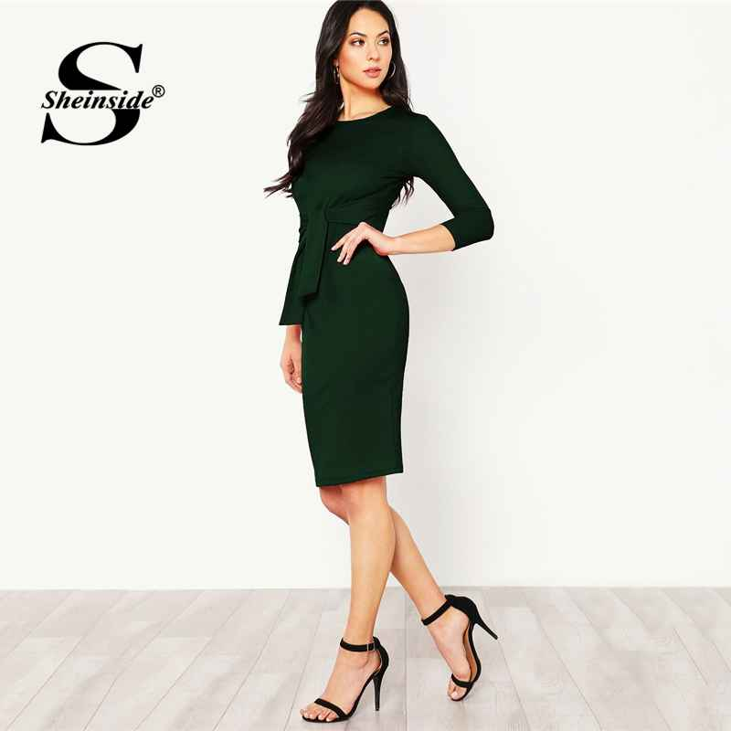 Green Elegant Pencil Dress Women Belted Midi Dresses 2018 Autumn