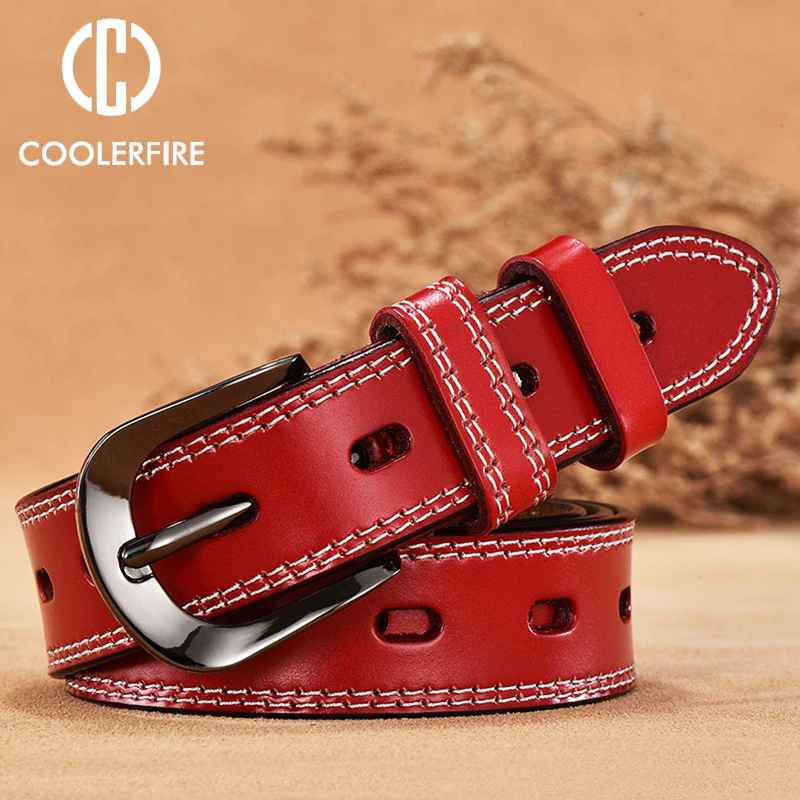 Coolerfire New Vintage Style Women Belts Cow Genuine Leather High