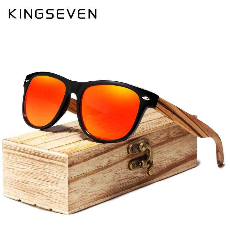 Red Mirror Wood Sunglasses Women Ladies Zebra Wood Bamboo Vintage