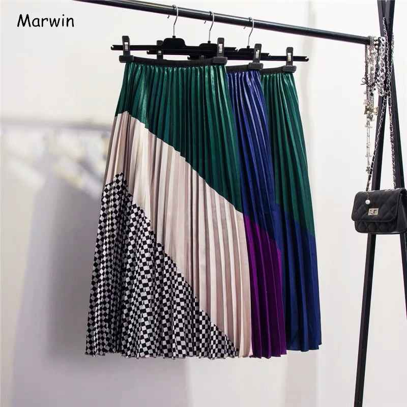 Skirts marwin 2019 spring new-coming europen color matching plaid pleated