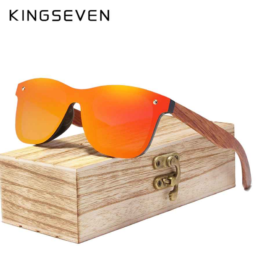 Rimless Polarized Wood Sunglasses Men Square Frame Uv400 Sun Glasses