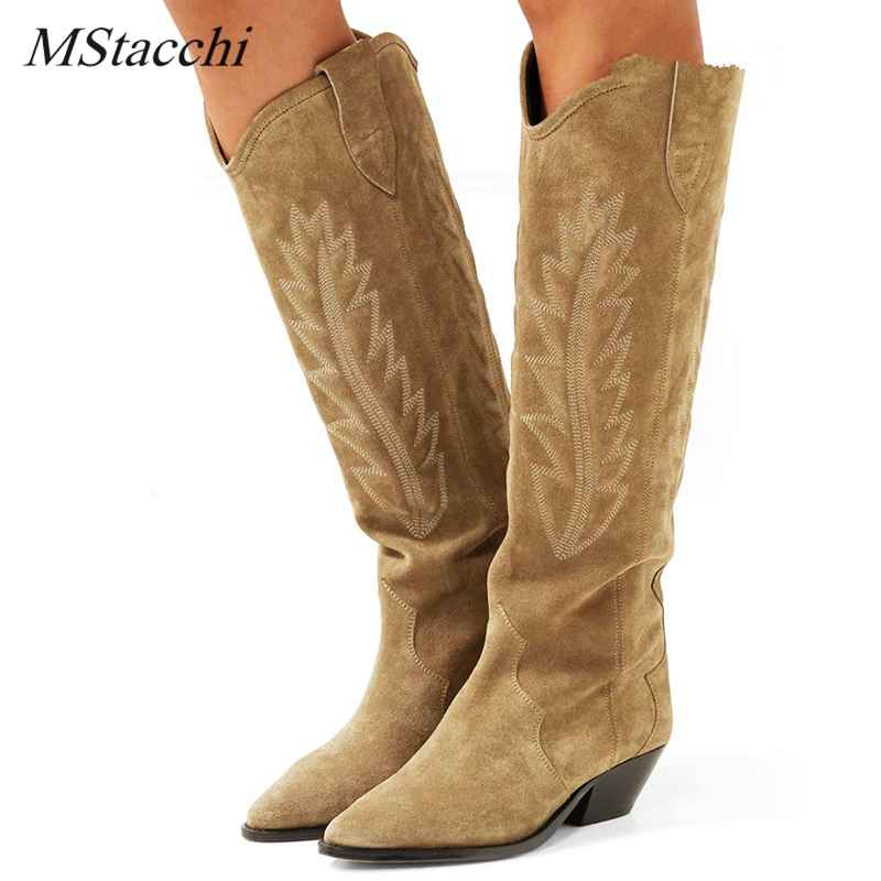 Mstacchi Nude Black Suede Embroidered Knee High Boots Women Pointy