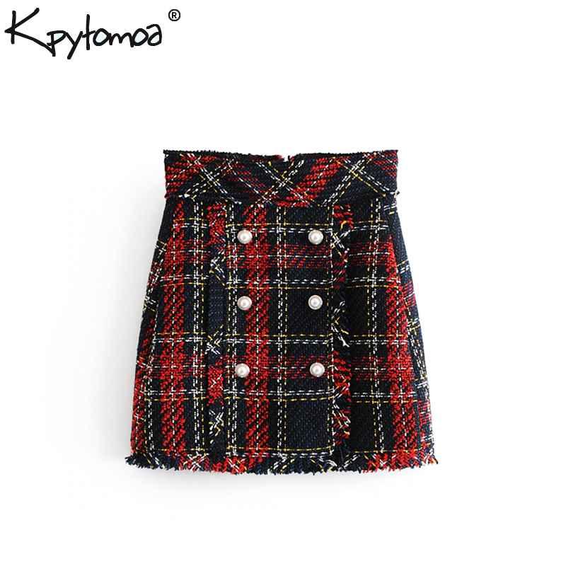 Skirts vintage faux pearl fringe tweed plaid mini skirt women