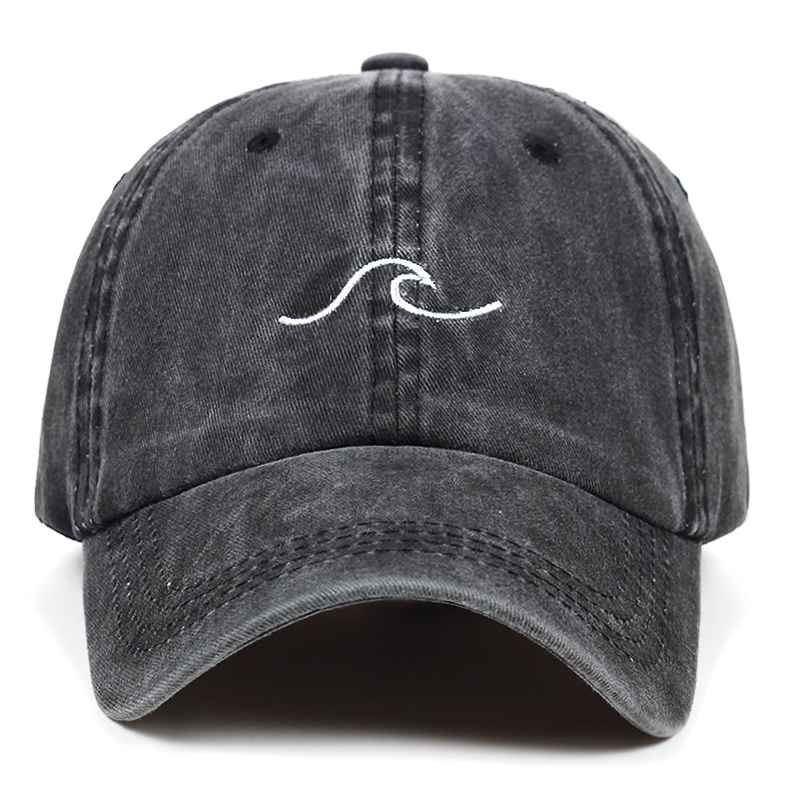 Washed Wave Dad Hat For Women Cotton Embroidery Wavy Line