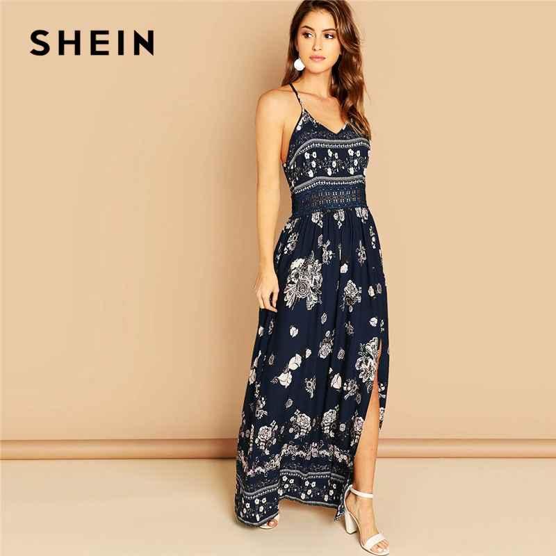 Navy Lace Waist Split Front Cami Dress Elegant Slim Floral