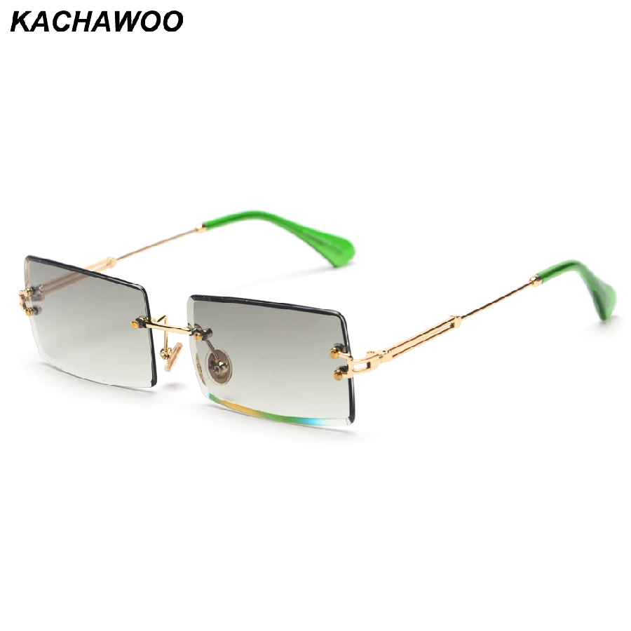 Kachawoo Fashion Rimless Sunglasses Women Accessories 2019 Rectangle Female Sun
