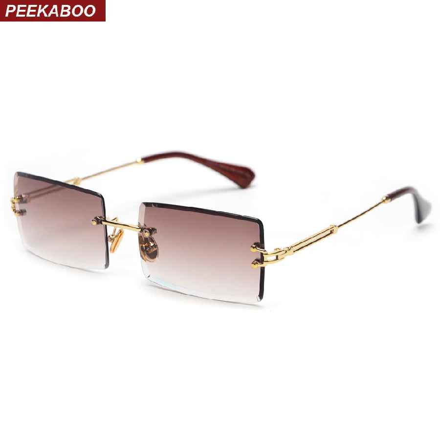Peekaboo Small Rectangle Sunglasses Women Rimless Square Sun Glasses For